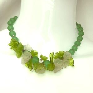 Jewelry - Vintage Art Deco Molded Green Glass Beads Necklace
